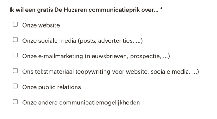 fragment uit het De Huzaren communicatieprik invulformulier
